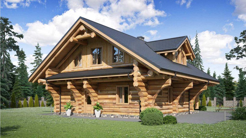 Titelbild Holzbau Rustikal Blockhaus aus Naturstämmen
