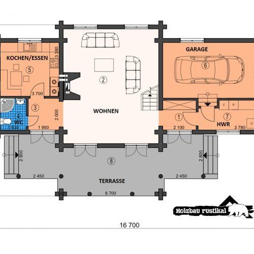 Blockhaus Villa Alexander Grundriss Erdgeschoss