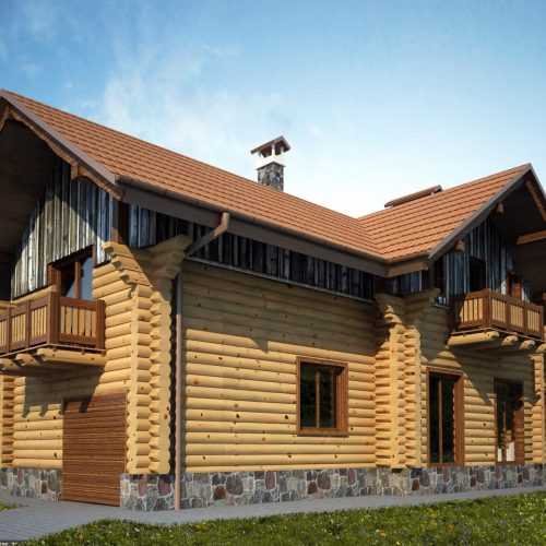 Blockhaus Villa Alexander Seitenansicht