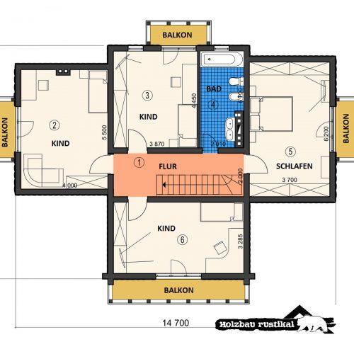 Blockhaus Villa Colorado Grundriss Dachgeschoss