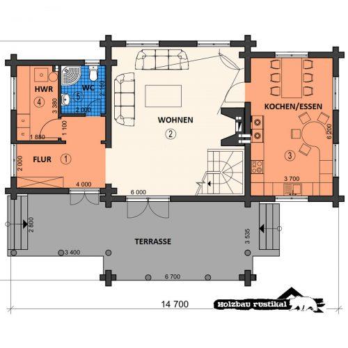 Blockhaus Villa Colorado Grundriss Erdgeschoss