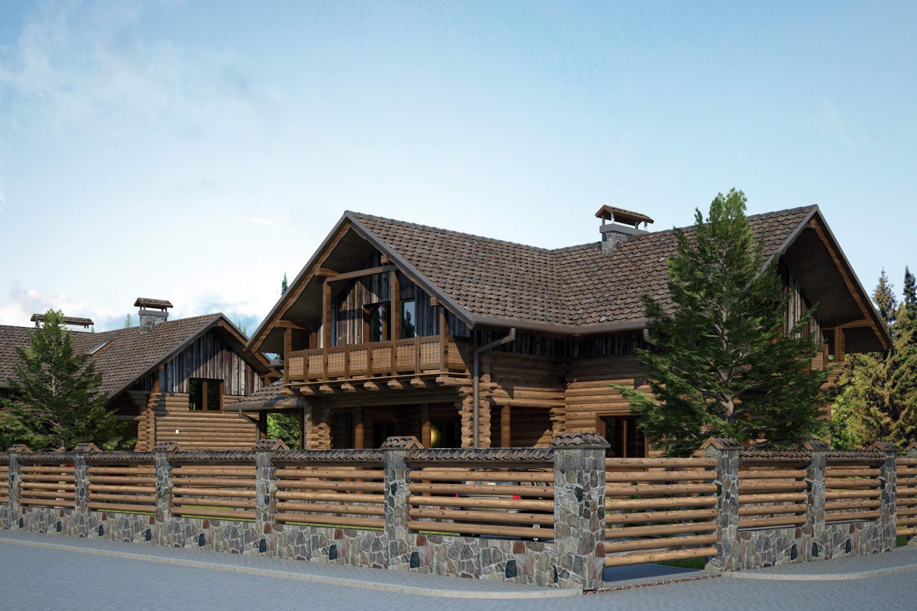 Blockhaus Villa Colorado Ansicht von der Straße mit Zaun