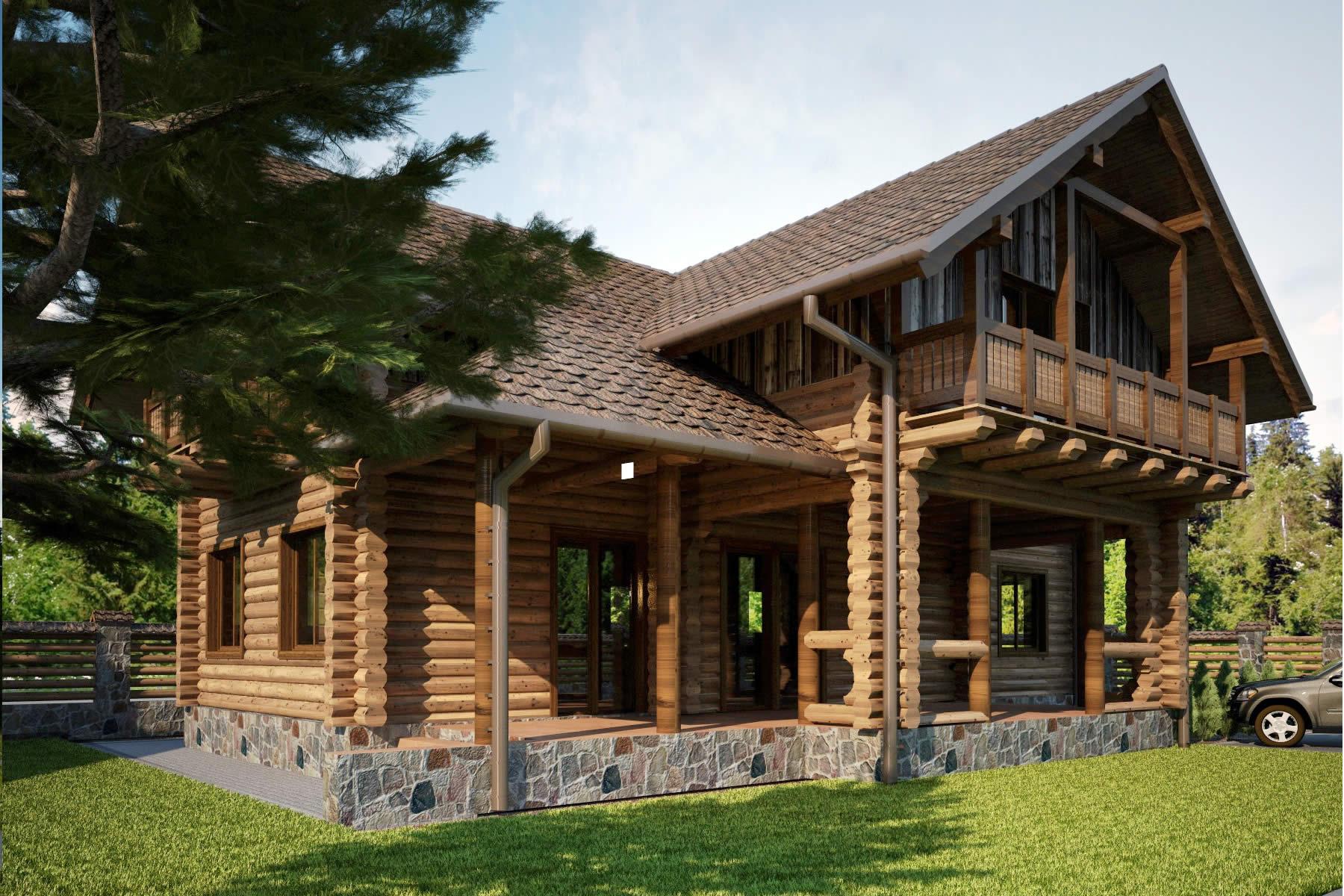 Blockhaus Villa Colorado Ansicht vom Innenhof