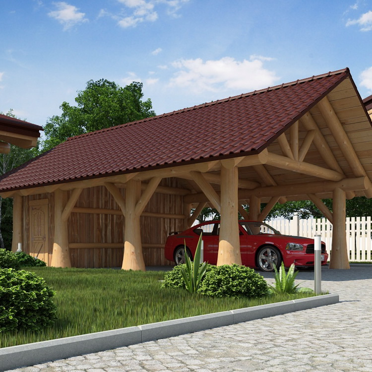 naturstamm carport mit Spitzdach
