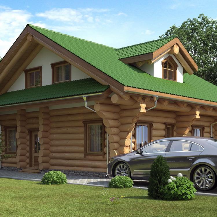 Naturstammhaus mit Dach aus grünen Dachziegeln