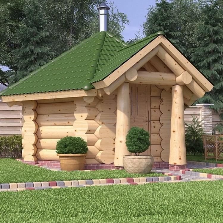 Blockhaus Sauna mit Dachziegeln grün