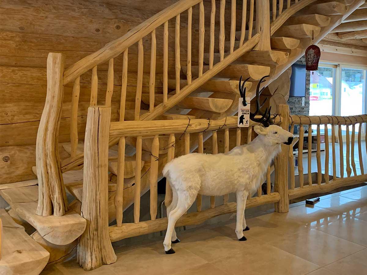 dekorative Massivholztreppe in einem Blockhaus mit Rentier