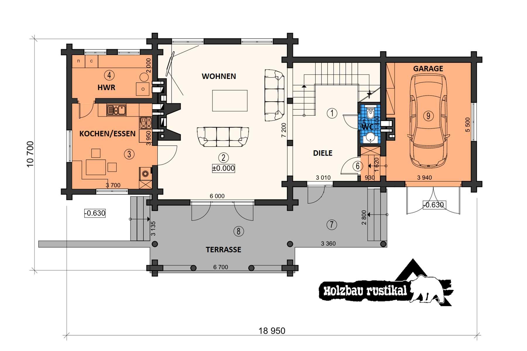 Blockhaus Villa Denali Gundriss Erdgeschoss