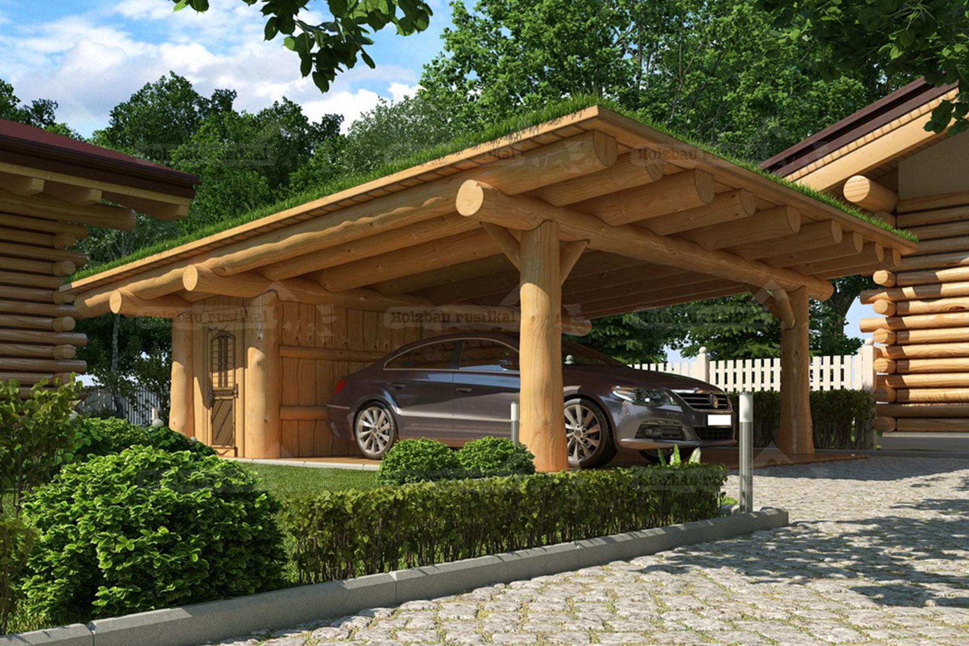 Naturstamm Carport mit Flachdach Beispiel-Bild