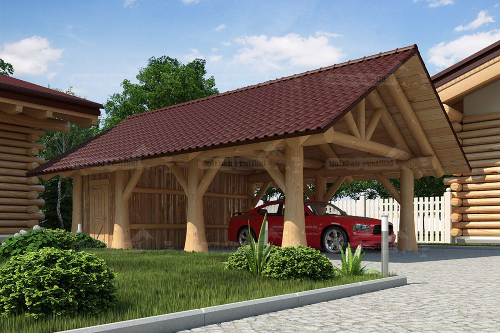 animiertes Computer Bild vom Naturstamm Carport mit Spitzdach